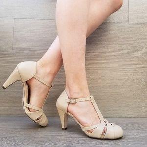 Nude Vintage 1920's Style Rockabilly Heels